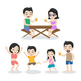 Set of cute happy Family,dad mom son daughter standing together cartoon character flat design vector on white background.