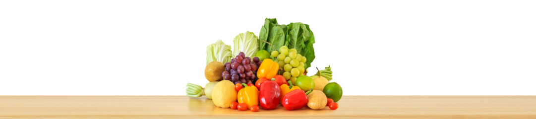 Fresh fruits and vegetables grocery product on wood table isolated on white background