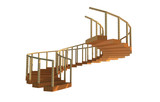 3D Illustration image of decorative wooden spiral staircase complete with timber railing.