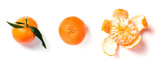 Ripe orange mandarine, tangerine, clementine with leaves isolated on white background, top view