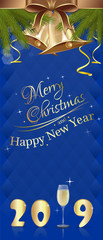 Blue vertical banner with glass of champagne and golden jingle bells for New Year 2019. Merry Christmas and Happy New Year. Vector illustration © kiberstalker