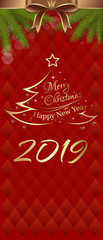 Red vertical banner for New Year 2019. Merry Christmas and Happy New Year. Vector illustration © kiberstalker