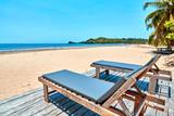 beach lounger under coconut trees, madagascar