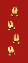 Golden pig tracks on red background. Luck symbol concerning chinese year of the pig.  © Peter Hermes Furian