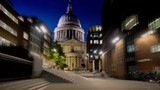 hyper lapse, St. Pauls cathedral and Millennium Bridge in sunset time, London, UK - 239900784