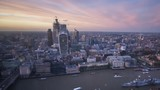 time lapse London sunset, view on business modern district, UK - 239900789
