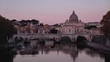 time lapse of St. Peter's Basilica, Sant Angelo Bridge, Vatican, Rome, Italy - 239903147