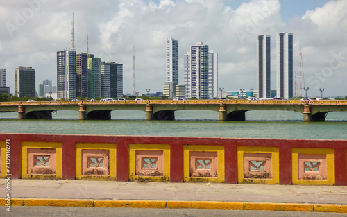 A view from Mauricio de Nassau bridge - skyscrappers in the background - Recife, Brazil © Helissa