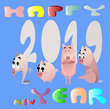 Year of the Pig and New Year 2019 and Chinese New Year. Flat illustration for decoration. Colorful cute cartoon character  on  background isolated.