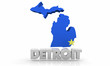 Detroit MI Michigan City Map 3d Illustration