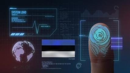 Finger Print Biometric Scanning Identification System. Estonia Nationality