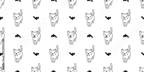 obraz lub plakat cat Seamless pattern vector salmon fish kitten calico cartoon scarf isolated tile background doodle illustration repeat wallpaper white