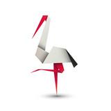 bocian origami logo wektor