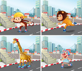 Wild animals roller skate in town © GraphicsRF