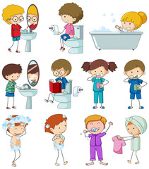 Set of doodle kid with daily routine © GraphicsRF