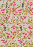 Bird on a branch with leaves and barries . Seamless background pattern version 5