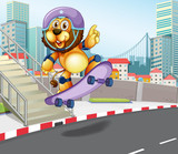 Lion skateboarding in urban city © GraphicsRF