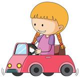 Doodle girl riding toy car