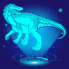 3D hologram of Baryonyx. Vector illustration.