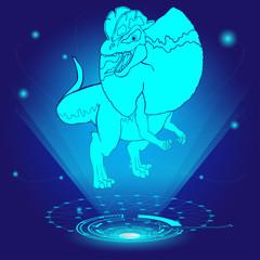 3D hologram of Dilophosaurus. Vector illustration.