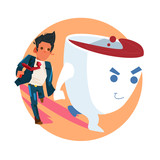 coffee cup lead businessman by the hand to go to office or working. power of caffeine. drink coffee and doing work concept - vector