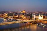Elisabeth bridge against city at night. Budapest, Hungary