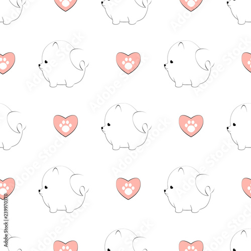 obraz PCV Cute pomeranian dog seamless pattern isolated on white background.