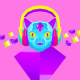 3d render Geometric kitty DJ. Contemporary art collage. Music party concept - 239971100
