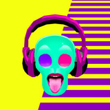 3d render Skull crazy DJ. Contemporary art collage. Club Music party concept - 239971108