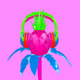 3d render DJ tropical pineapple. Contemporary minimal art collage. Beach party concept - 239971114