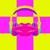 3d render. Contemporary minimal art collage. Colorful DJ lips. Colorful party concept - 239971144