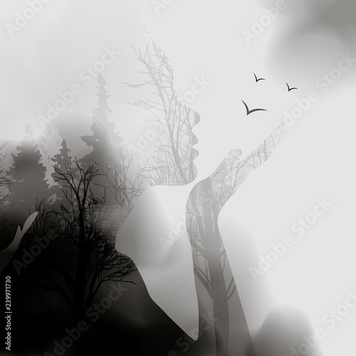 abstract Woman face silhouette. ink effect Forest background.Vector double exposure illustration.Woman face and beautiful nature landscape inside. fog in the forest. - 239971730