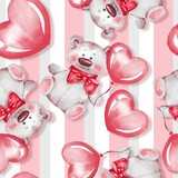 Seamless pattern with Teddy Bear and balloons. Valentines Day. Watercolor illustration
