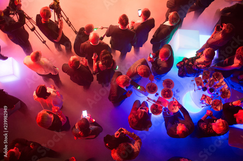 Party and corporate concept. People at the tables, top view.