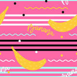 Modern seamless pattern with decorative bananas and lines for print, textile, fabric.