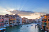Sunset on Grand Canal in Venice, Italy