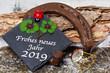 Leinwanddruck Bild - Happy New Year 2019, greeting card, good luck charm