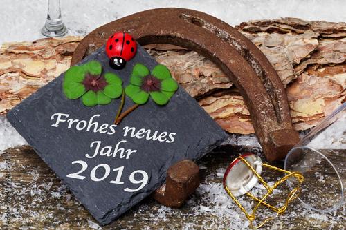 Leinwanddruck Bild Happy New Year 2019, greeting card, good luck charm