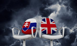 Slovakia and Great Britain business chairs. Internationl relationship concept. 3D Rendering