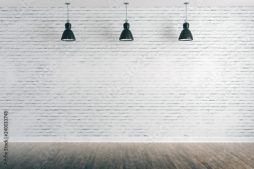 Leinwanddruck Bild 3d room with white brick wall and ceiling lamp