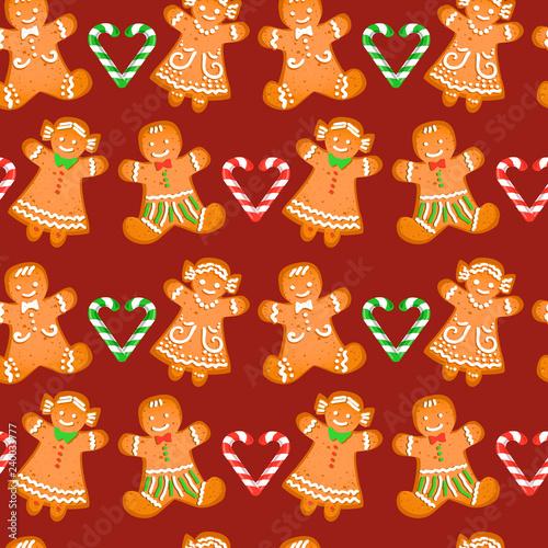 obraz lub plakat Christmas seamless pattern with gingerbread men and girls on dark broun background. Vector 10 EPS illustration