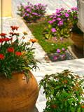Flower pots and marble, Greek garden, Georgioupolis, Crete