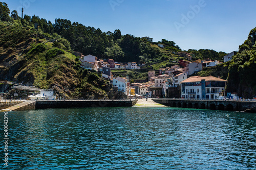 Cudillero bay and town centre, one of the most beautiful villages of Asturias, Spain - 240042396