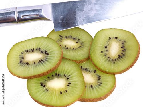 Green raw fruit kiwi on white background