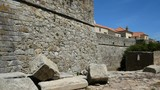 16th century walls and ruin of old fort in Foz do Douro, Portugal. Slow zoom in - 240060504