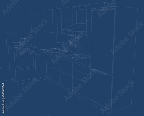 Layout of kitchen perspective. White lines on a blue background.