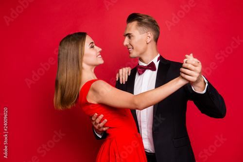 Leinwanddruck Bild Portrait of his he her she two nice sweet tender lovely attracti