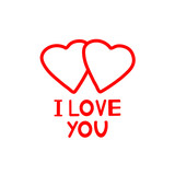 I Love you - card with hearts.