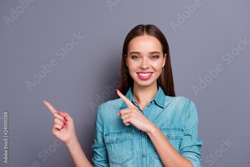 Leinwandbild Motiv Close up portrait of pretty smiling person woman girl gesturing