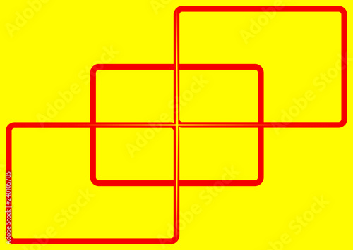 three rounded rectangles with a red border on a yellow